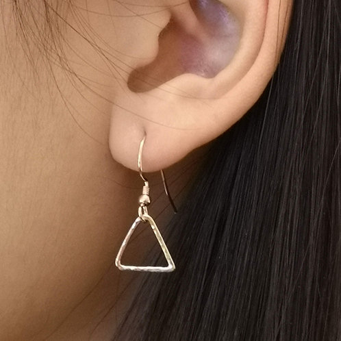 Triangle Earrings in Sterling Silver or Gold