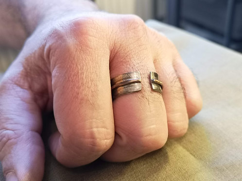 Open Ring with silver and copper