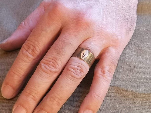 Warrior ring in silver and copper