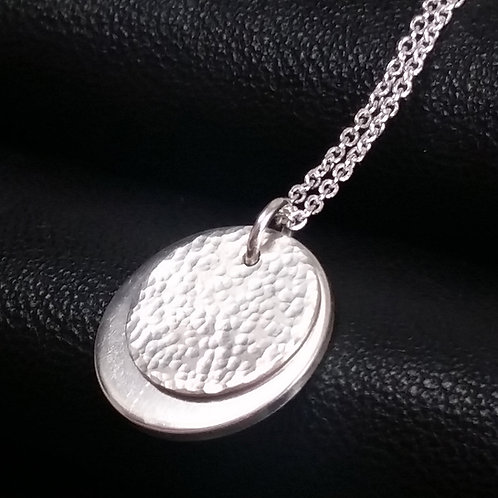 Hammered Tag pendant in silver