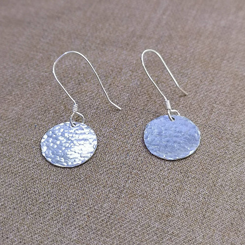 Hammered Tag Earrings on Silver