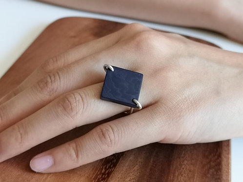 Square ring on silver