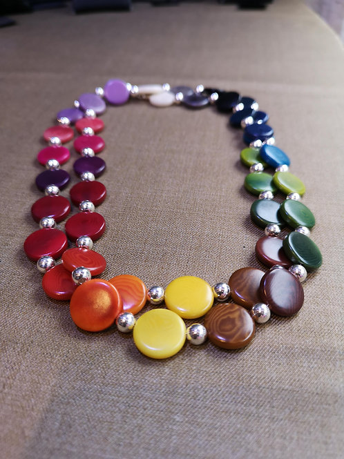 "Rainbow necklace in 15mm pieces, 34"" Long"