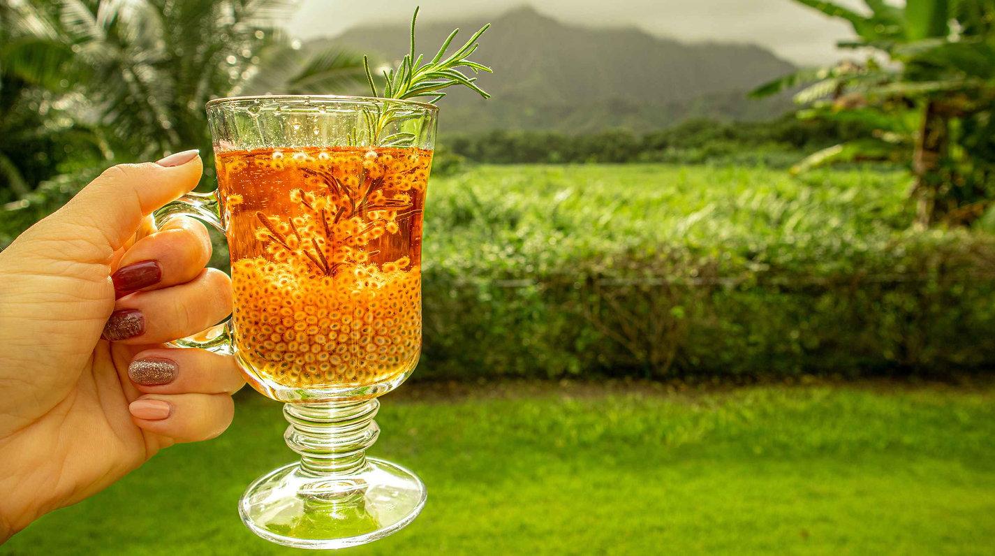 holding basil seed drink in hand hawaii