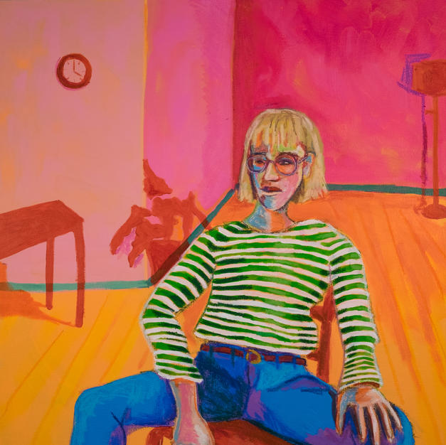 Seated in a Striped Shirt