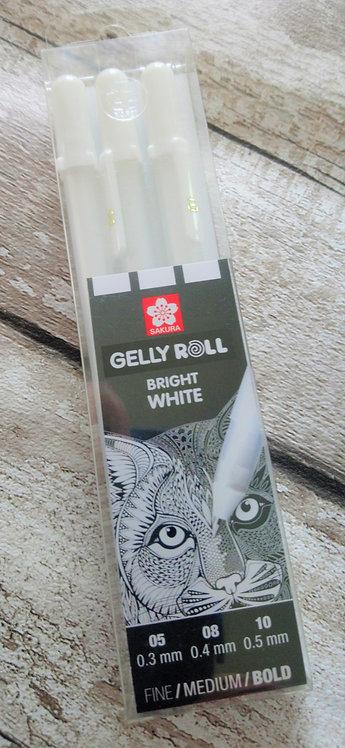 3 White Gelly Roll Pen - FINE/MED/BOLD