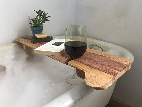 Cedar bath caddy w/ wine glass holder.