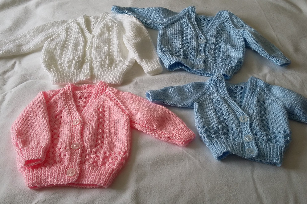 7b84cacab Premature Baby Boys or Girls Cardigan Hand Knit