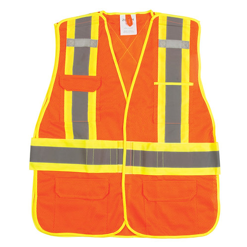 Surveyors vest, reflective stripes, ORANGE