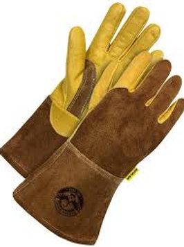 GANDER BRAND GOLD GRAIN/BROWN SPLIT COWHIDE KEVLAR LINED - LARGE - 12 PAIR