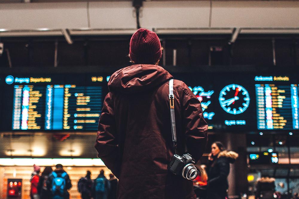 Traveler waiting for the flight.
