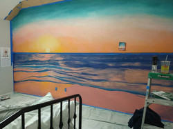 Sunset mural in progress