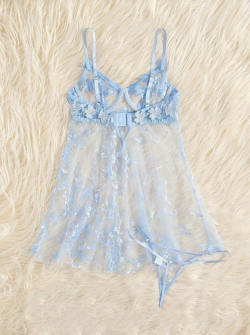Ensemble robe de nuit transparente dentelle