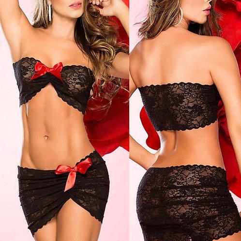 Ensemble lingerie jupe bandeau dentelle