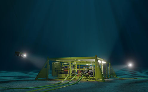 3D rendering of a subsea production mani