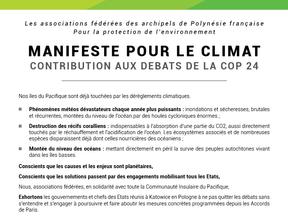 COP24 : Manifeste de la FAPE - Te Ora Naho