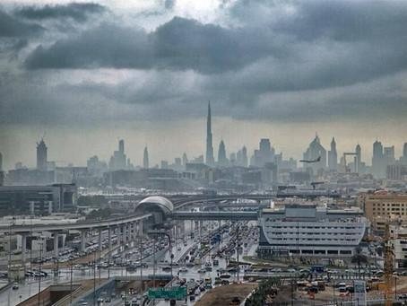 Repeating in similar pattern continuous Rain in UAE. Enhancing nature.