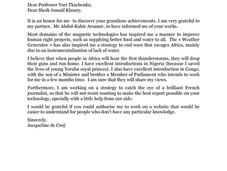 Letter of appreciation from her Majesty, Jacqueline de Croÿ.