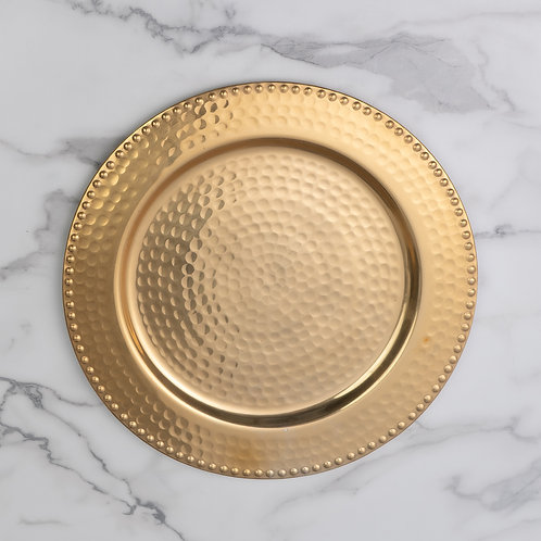 Gold hammered charger - set of 4