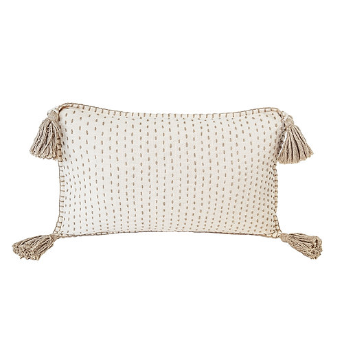 Hand Quilted Cotton Pillow with Tassels