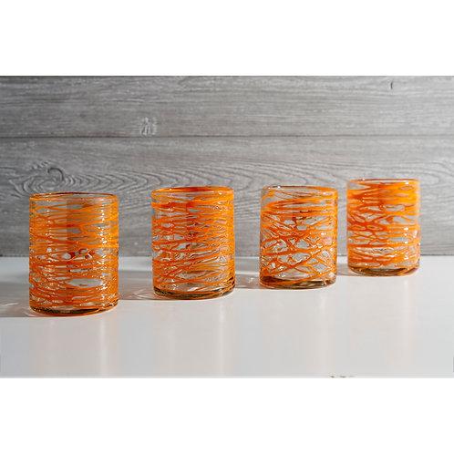 Mexican Handblown Glasses -orangr and aqua