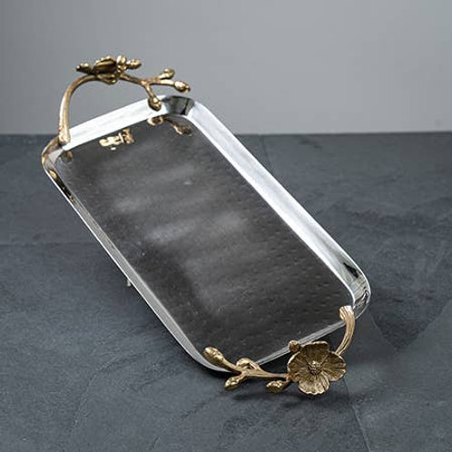 W&A SS Hammered Tray w/ Gilded Flower Handle