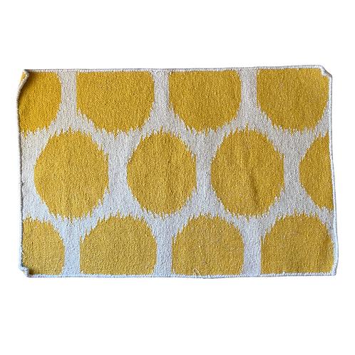 Yellow and White Flatweave  handmade Rug