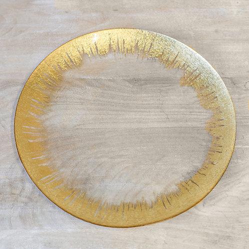W&A gold & glass platter