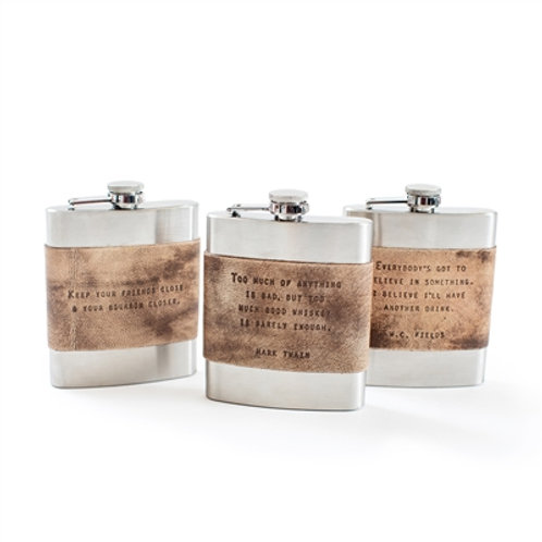 Brown Leather Quote Flasks