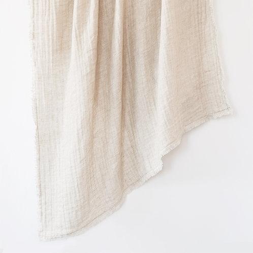 Crinkled Double Weave Linen Throw Blanket