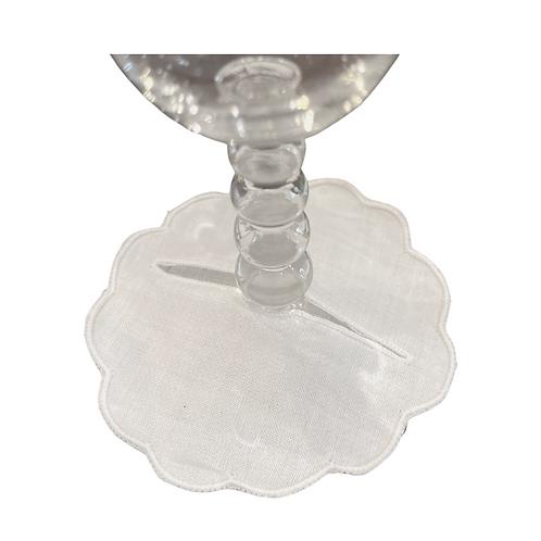 Linen Wine Coasters- White- Set of 4