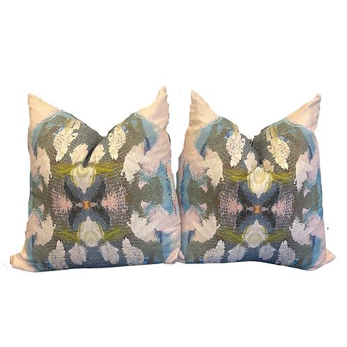 Pair of Peacock Watercolor Pillows