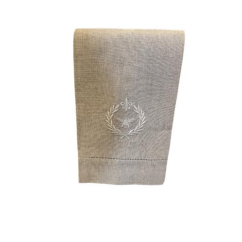 Bee Monogrammed Oatmeal Linen Towel