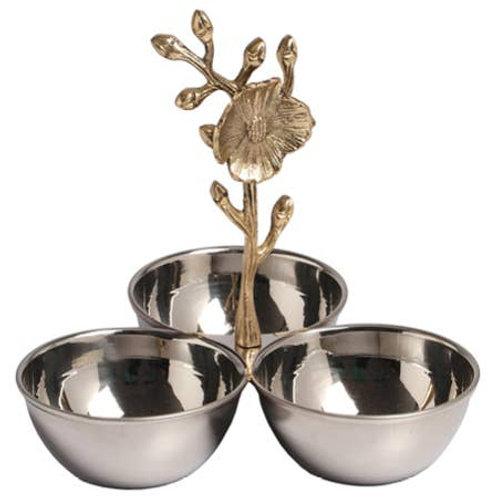 W&A SS 3-Bowl w/brass Floral Handle