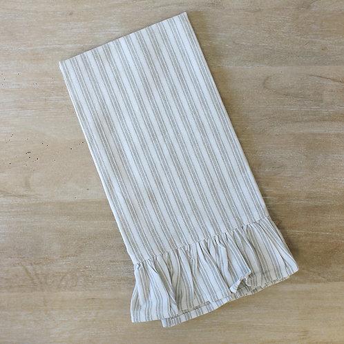Stripe Ruffle Hand Towel in Taupe