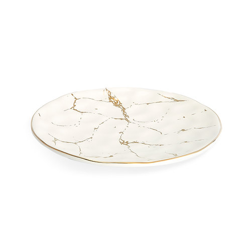 White Porcelain w/ gold marble Dinner Plates - set of 4