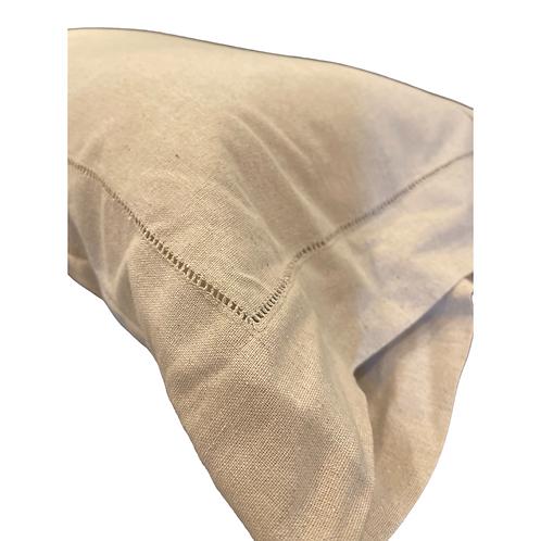 Down Filled Linen Lumbar Pillow Oatmeal