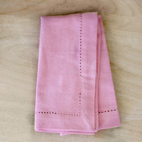 Hemstitch Napkin in Flamingo Pink - set of 4