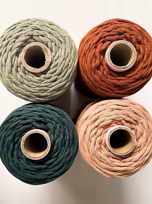 5mm RECYCLED Colored Supersoft Single Twist Cotton String