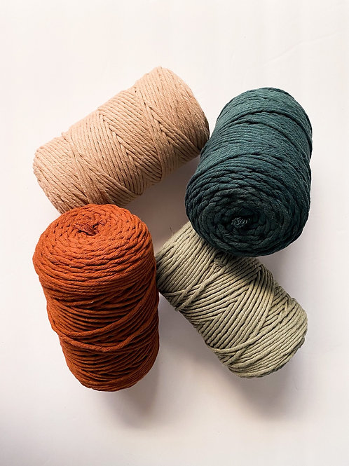 3mm RECYCLED Colored Supersoft Single Twist Cotton String (Half Spools)