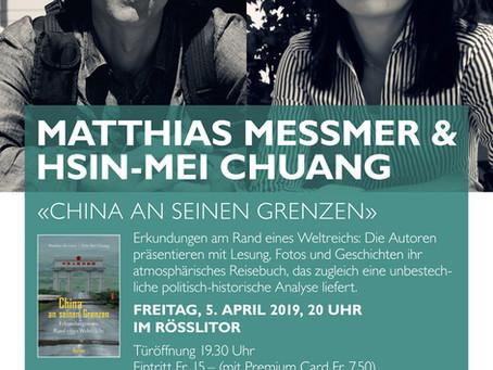 """Buchvorstellung """"China an seinen Grenzen"""" in St. Gallen, Rösslitor Orell Füssli, 5. April, 2019"""