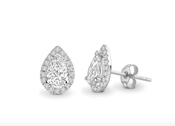 Pear shape halo Diamond Earrings 0.72carat