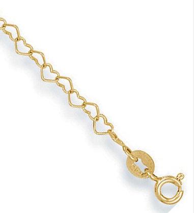 Heart link anklet 9k gold