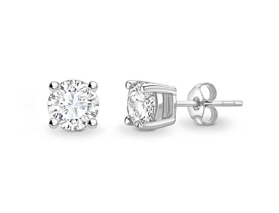4-claw Classic Round Brilliant diamond studs H/I SI2 upto 2ct
