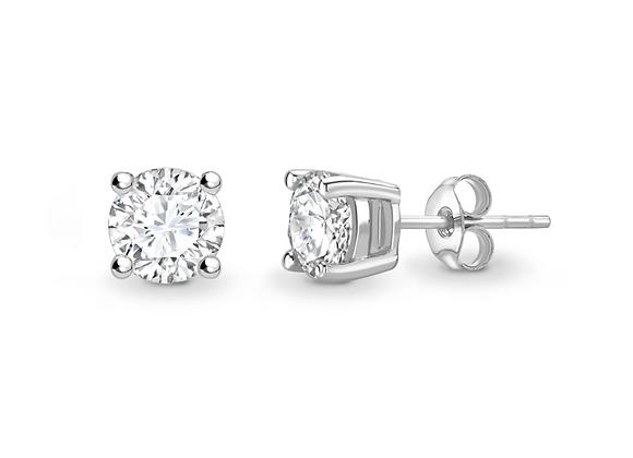 4-claw Classic Round Brilliant diamond studs upto 2ct