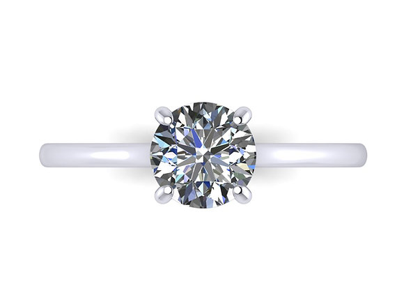 Classic Round Brilliant engagement ring with Petite straight band