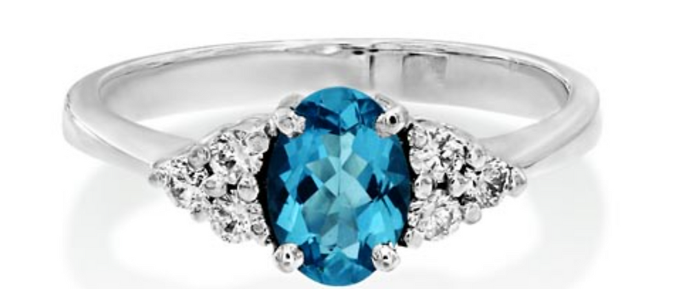 Oval Aquamarine and Diamond Trifoil Cluster Ring