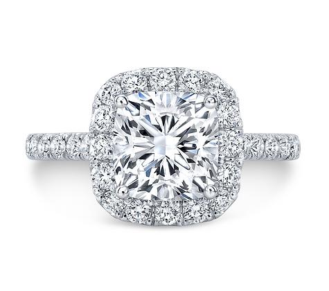 """Galaxy"" Cushion cut diamond Halo Engagement ring"
