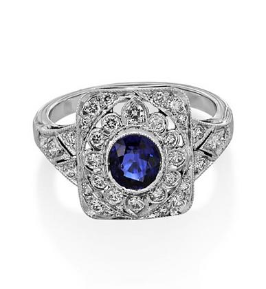 Sapphire Vintage Look Ring