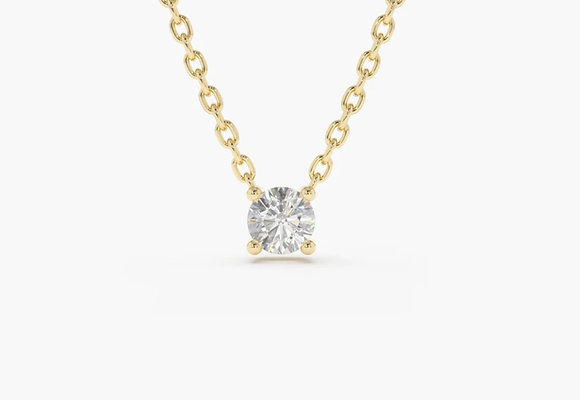 Claw set minimal diamond solitaire pendant